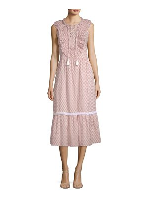 Kate Spade New York arrow stripe lace-up cotton midi dress