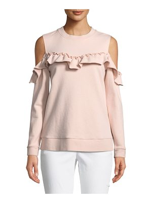 KATE SPADE NEW YORK Cold-Shoulder Ruffle Pullover Sweatshirt