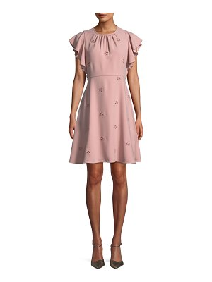 Kate Spade New York cutout crepe dress w/ flutter sleeves