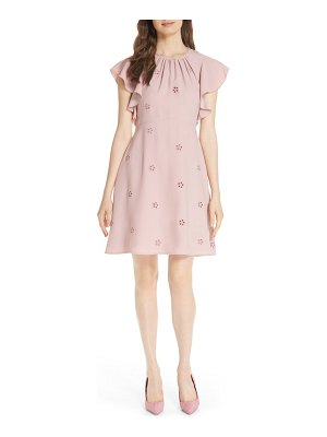 Kate Spade New York eyelet detail ruffle sleeve crepe dress