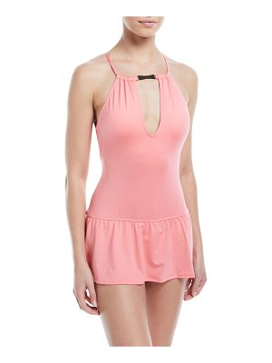 KATE SPADE NEW YORK High-Neck Plunge Keyhole Swimdress