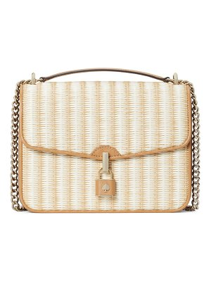 Kate Spade New York locket large flap straw crossbody strap