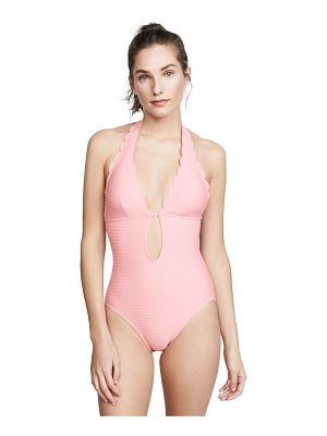 KATE SPADE NEW YORK Marina Piccola Scallop Halter One Piece