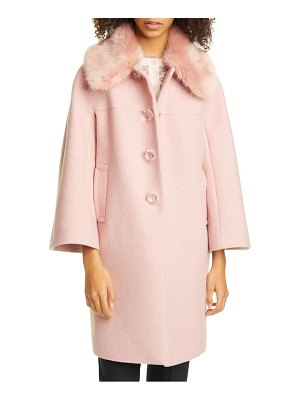 Kate Spade New York metallic wool blend twill coat with detachable faux fur collar