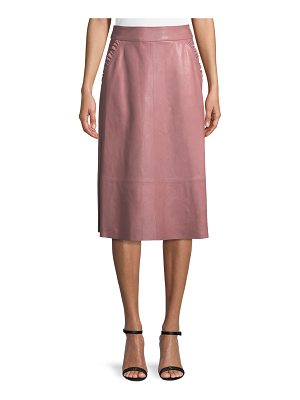 KATE SPADE NEW YORK Pacey A-Line Lamb Leather Skirt