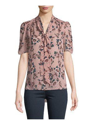 Kate Spade New York prairie rose-print tie-neck dotted silk top