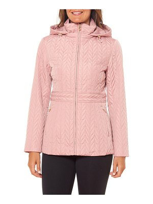 Kate Spade New York quilted chevron funnel-neck midi jacket