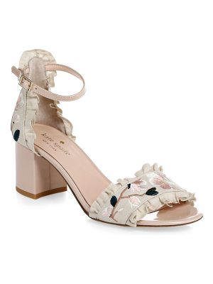 KATE SPADE NEW YORK Wayne Floral-Embroidered Linen & Patent Leather Slingback Heels
