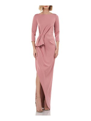 Kay Unger Boat-Neck 3/4-Sleeve Column Gown with Side Slit