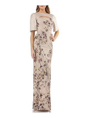 Kay Unger Cutout Mikado & Lace Gown w/ Sequin Embroidery