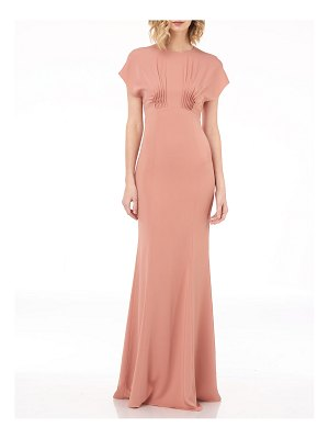 Kay Unger Dolman-Sleeve Column Gown with Pintucks