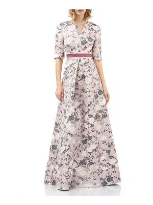 Kay Unger Floral Jacquard Split-Neck Elbow-Sleeve Gown