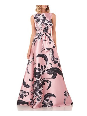 Kay Unger Grace Floral Printed Sleeveless Mikado Gown w/ 3D Bow