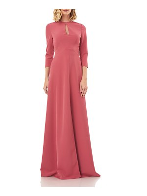 Kay Unger Hannah Jewel-Neck 3/4-Sleeve Stretch Crepe Gown