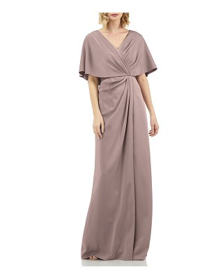 Kay Unger Luna Stretch Faille Portrait-Neck Cape-Sleeve Gathered Gown