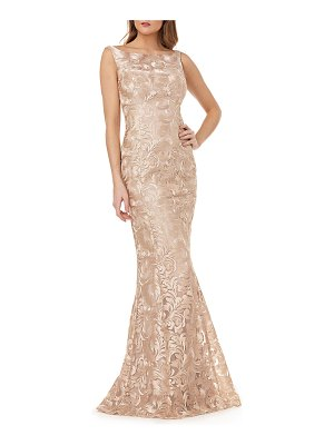 Kay Unger Metallic Lace Sleeveless Mermaid Gown
