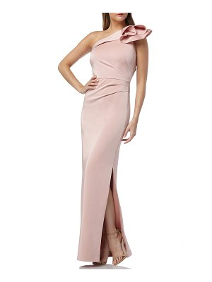 Kay Unger One-Shoulder Column Gown with Architectural Flower Detail