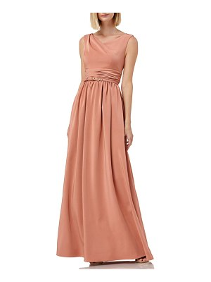 Kay Unger sleeveless draped neckline gown