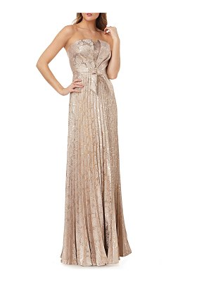 Kay Unger Strapless Metallic Jacquard Gown w/ Bow