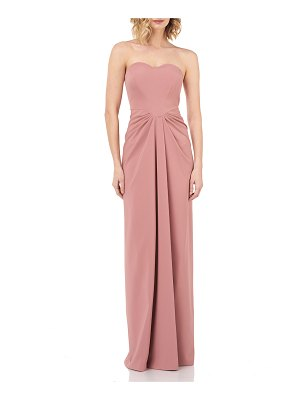d5d1bfedf4b30 Kay Unger Strapless Sweetheart Draped Stretch-Crepe Column Gown