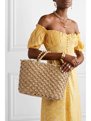 Kayu net sustain pippa woven seagrass, macramé and beaded tote