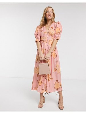Keepsake button through forever floral midi dress in tan gardenia-pink