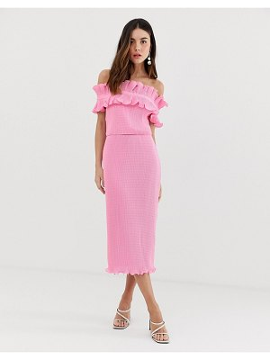 Keepsake clarity crinkle ruffle midi dress-pink