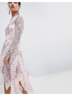 Keepsake lace and spot midi dress-pink