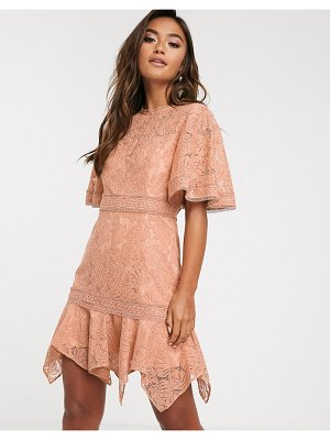 Keepsake lonely lace mini dress-brown