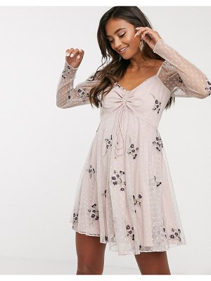 Keepsake oasis mini dress-beige