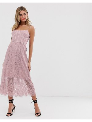 Keepsake sense lace midi dress with corset detail-pink