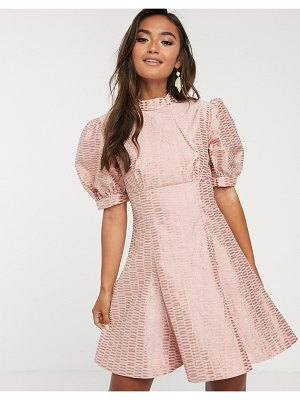 Keepsake wonder brocade puff sleeve mini dress-pink