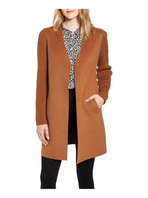 Kenneth Cole knit sleeve double face wool blend coat