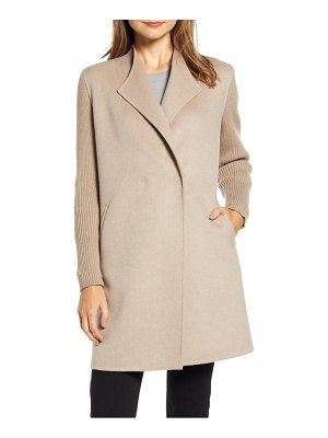 Kenneth Cole knit sleeve wool blend coat