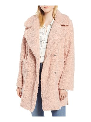 Kenneth Cole notch collar curly faux shearling coat