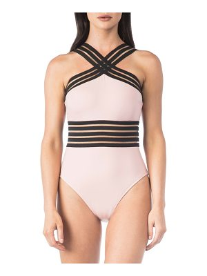 KENNETH COLE Stompin In My Stilettos High Neck One-Piece Swimsuit