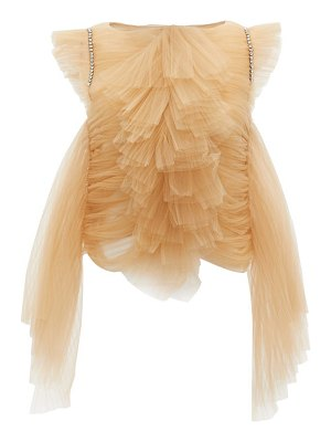 Khaite dionne crystal-embellished ruffled tulle top