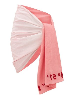 Kilometre Paris embroidered gradient cotton-khadi sarong