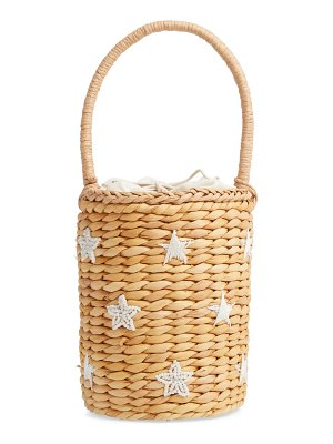 KNOTTY beaded straw bucket bag