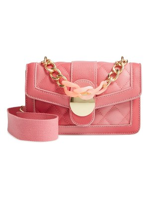 KNOTTY ombre faux leather quilted link handle crossbody bag
