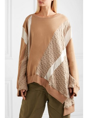 KOCHÉ asymmetric paneled stretch-cotton blend sweater