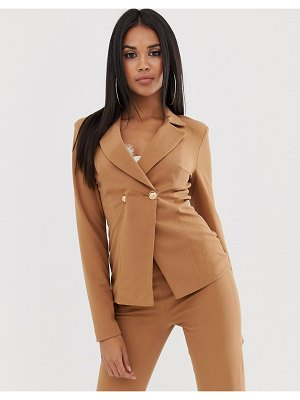 Koco & K double breasted blazer with gold button detail in coffee