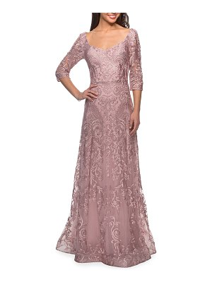 La Femme A-Line 3/4-Sleeve Embroidered Lace Gown