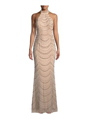 La Femme Allover Beaded Gown w/ Open Back