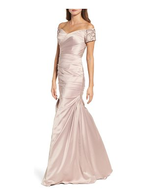 LA FEMME Beaded Back Off The Shoulder Gown
