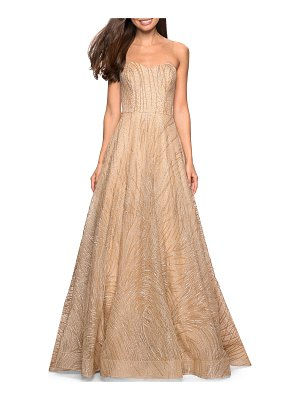 La Femme Beaded Strapless Sweetheart A-Line Gown