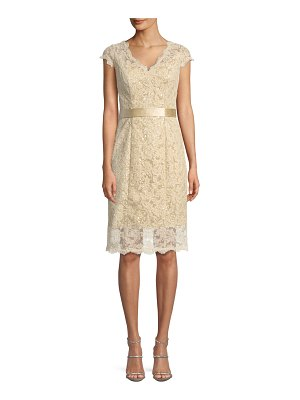 La Femme Cap-Sleeve Belted Lace Cocktail Dress