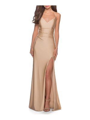 La Femme cross back satin jersey gown