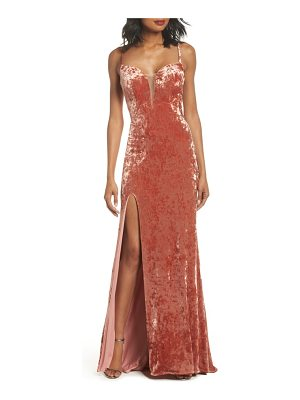 LA FEMME Crushed Velvet Sheath Gown
