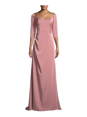 LA FEMME Elbow-Sleeve Sweetheart-Neck Evening Gown